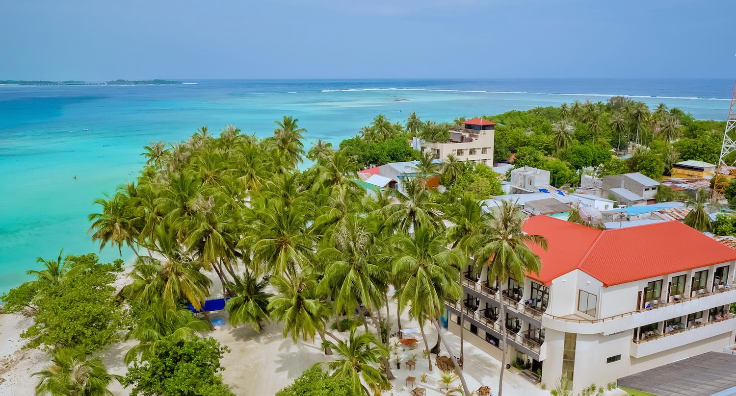 seaview muslim Kaani beach hotel located in maafushi island a sunny beach getaway surrounded by coconut palm trees with sea view rooms and private balcony all rooms are air.