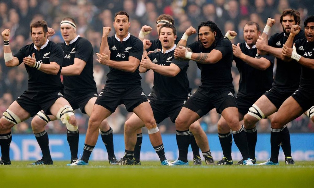 The All Blacks do the Haka during the England versus New Zealand autumn international rugby union match at Twickenham Stadium on November 16th 2013 in London (Photo by Tom Jenkins)